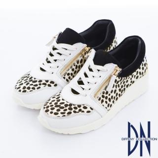 【DN】個性帥氣 MIT豹紋雙拉鍊運動休閒鞋(白)
