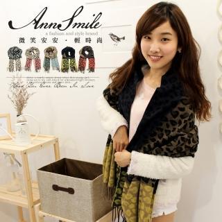 【微笑安安】韓製豹紋3色拼接毛料感流蘇披肩圍巾(共5色)