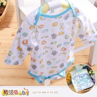 【魔法Baby】純棉長袖包屁衣4件加手帕6條組合-不挑款(k38217)
