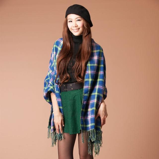 【雪莉亞】日系撞色雙面流蘇披肩式圍巾(藍拼螢光綠)