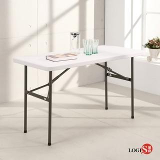 【LOGIS】多用途122*61塑鋼長桌防水輕巧塑鋼折合桌/會議桌/露營桌/野餐桌