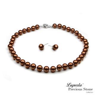 ~大東山珠寶~10mm南洋貝寶珠項鍊套組 巧克力