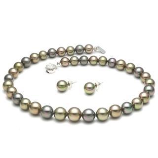 【大東山珠寶】南洋貝寶珠寶塔款項鍊套組 綠彩