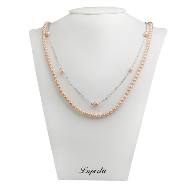 【大東山珠寶】2層款式南洋貝寶珠長版項鍊(粉)