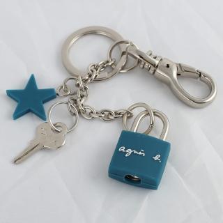 【agnes b】鎖頭造型鑰匙圈(藍色)