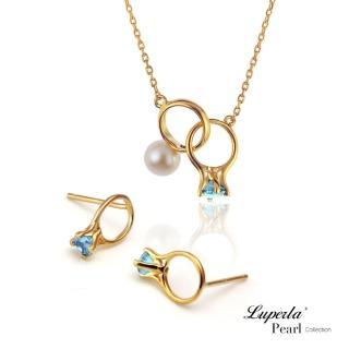 【大東山珠寶】頸間的悸動 湖水藍珍珠純銀項鍊耳環套組