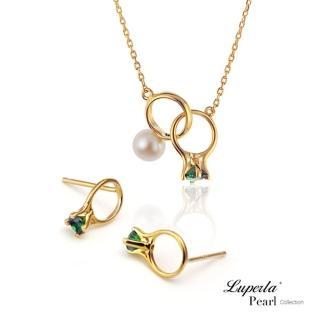 【大東山珠寶】頸間的悸動 孔雀綠珍珠純銀項鍊耳環套組