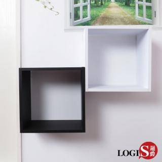 【LOGIS】黑白魔術口格子壁櫃 壁架 展示櫃(正方形兩入組)