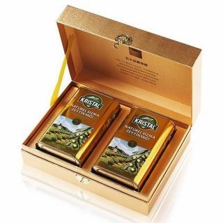 【買一送醬油 Ecolife綠生活 KRISTAL】純天然頂級第一道初榨冷壓橄欖油(高級禮盒組 送禮大方貴氣)
