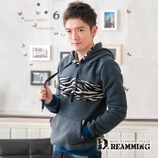 【Dreamming】質感混色斑馬紋拼接厚刷毛連帽長T(共三色)
