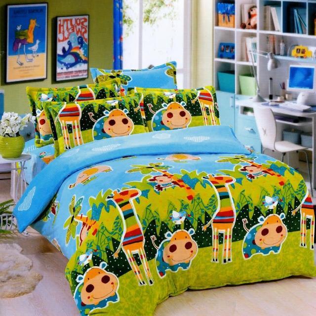 【歡樂時光】加大法萊絨四件式兩用被舖棉床包組