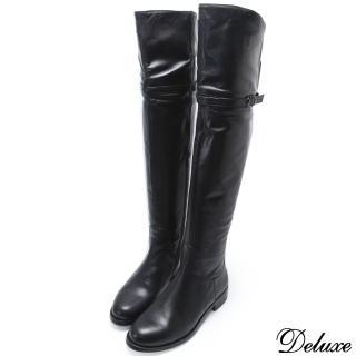 【Deluxe】細線帶可折兩穿式低跟長筒靴(黑色)