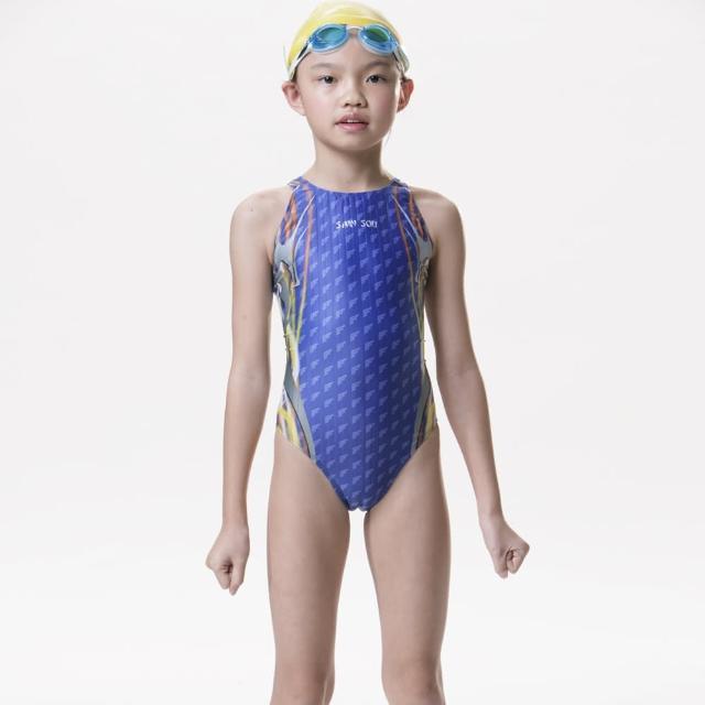 【SAIN SON】競賽/泳隊女童連身三角泳裝(加贈矽膠泳帽S635)