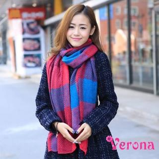 【Verona】新款學院風拼色格子情侶圍脖圍巾披肩