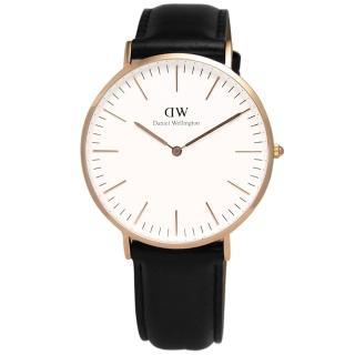 【Daniel Wellington】雋永之美經典雪菲爾皮革腕錶 40mm 白x玫瑰金(DW00100007)
