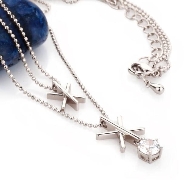 【大東山珠寶】雪花璀璨美鑽雙墬項鍊(2色)