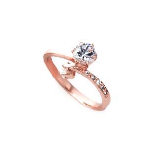 【大東山珠寶】純銀單鑽依戀戒指(玫瑰金)