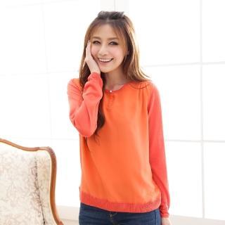 【Chlansilk闕蘭絹】精緻典雅100%蠶絲前釦造型拼接雪紡針織上衣-614(橘)
