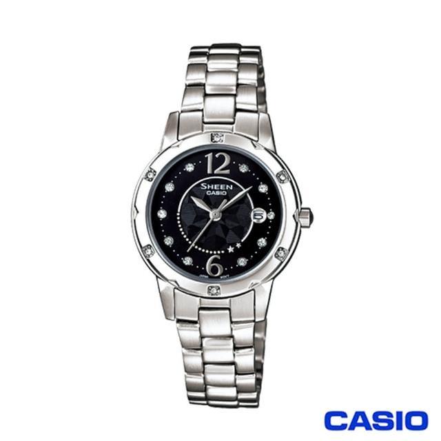 【CASIO 卡西歐】SHEEN系列圓盤鑲鑽簡約石英女錶(SHE-4021D-1A)