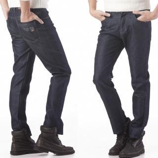 【RH紳士品格】紳士簡約厚挺牛仔長褲(深藍細黑格實腰實碼)
