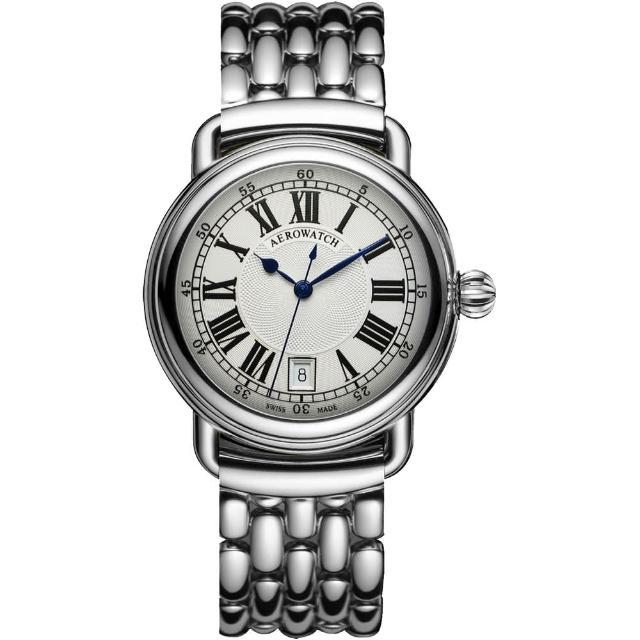 【AEROWATCH】Elegance 羅馬復刻機械腕錶-銀(A60900AA01M)