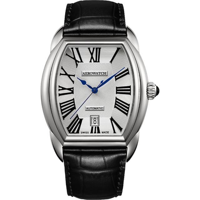 【AEROWATCH】Streamline 經典酒桶造型機械腕錶-銀(A60959AA01)