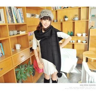 【轉行賣絲巾】毛球圍巾 針織保暖加長版圍脖/批肩(黑M10)