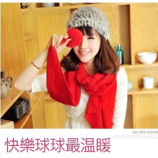 【轉行賣絲巾】毛球圍巾 針織保暖加長版圍脖/批肩(紅M10)