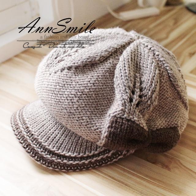 【微笑安安】蝴蝶結帽簷款銀蔥交織雙層針織毛帽(共6色)