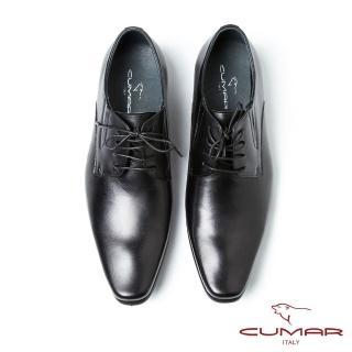【CUMAR】CUMAR義式摩登 復古刷色尖頭德比鞋(黑)