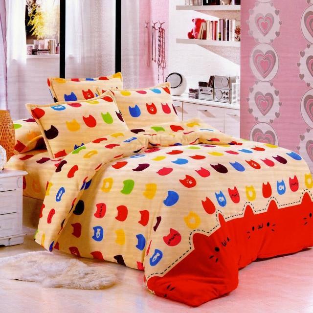 【糖果貓】雙人法萊絨四件式兩用被舖棉床包組