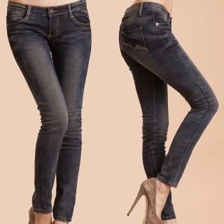 【RH】日系特殊抓皺造型刷破牛仔褲(復古刷色)