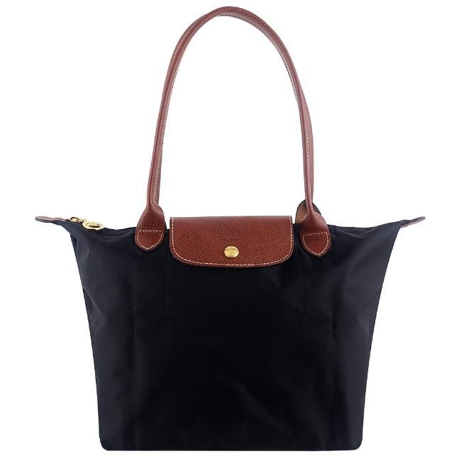 【Longchamp】長背帶折疊水餃包(黑色/小)