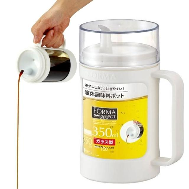 【日本ASVEL】油控式350ml調味油手提玻璃壺(白色)