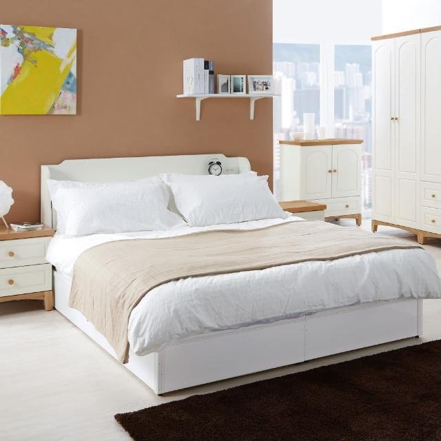 【綠活居】曼徹斯特白色5尺雙人床台(不含床墊)