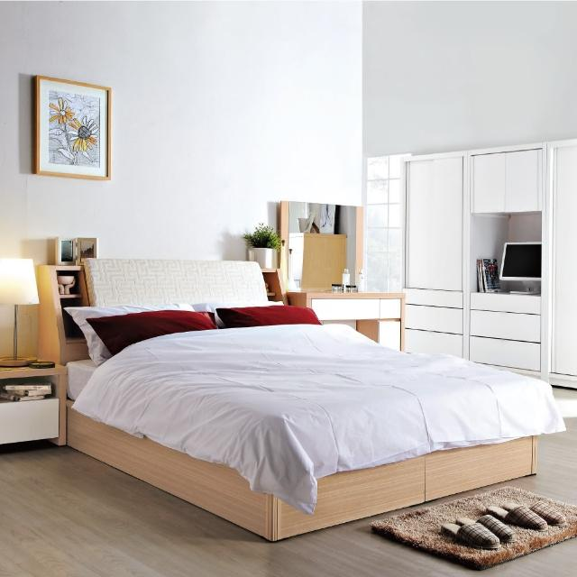 【綠活居】普茲茅斯白橡色5尺雙人床台(不含床墊)