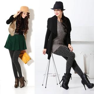 【韓依 HANN.E】台灣製顯瘦版竹炭聚熱立體絨毛保暖雕塑褲(百搭時尚野性豹紋款G83B1)