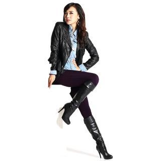 【韓依 HANN.E】台灣製顯瘦版竹炭聚熱立體絨毛保暖雕塑褲(百搭時尚迷人紫G83P)