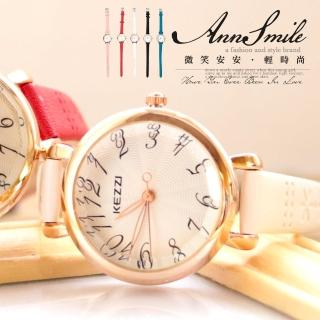 【微笑安安】香港品牌KEZZI*波紋放射典雅切割面細錶帶腕錶(共5色)