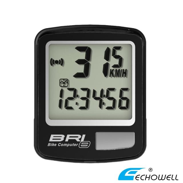 【ECHOWELL】BRI-8 多功能自行車有線碼錶(黑)