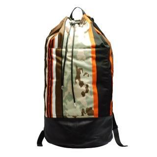【GIVENCHY】經典條紋X迷彩尼龍抽繩水桶後背包(14M5710331-960 墨綠X橘)