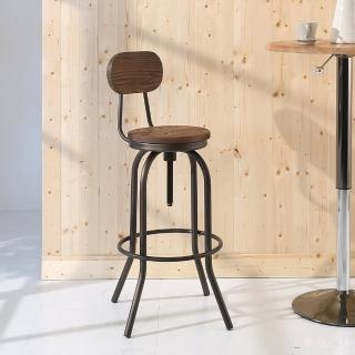 【BuyJM】復古LOFT工業風旋轉式升降吧台椅(原木燻黑)