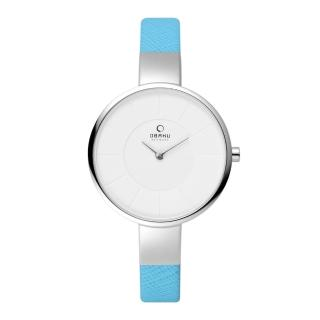 【OBAKU】采麗時刻時尚腕錶-銀框x藍皮帶(V149LCIRL)
