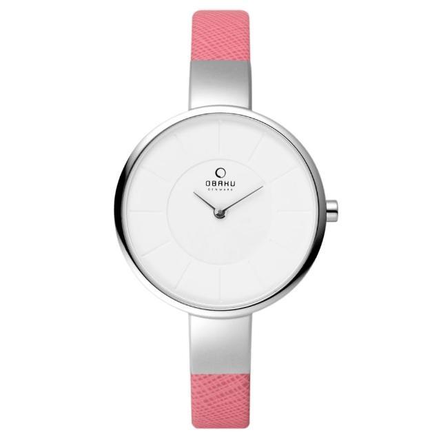 【OBAKU】采麗時刻時尚腕錶-銀框x粉紅皮帶(V149LCIRP)