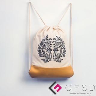 【GFSD璀璨水鑽精品】伊達政宗-礦黑(戰國武將家徽抽繩束口後背包)