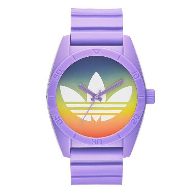 【adidas】街潮繽紛三葉休閒腕錶-漸層x紫(ADH9072)