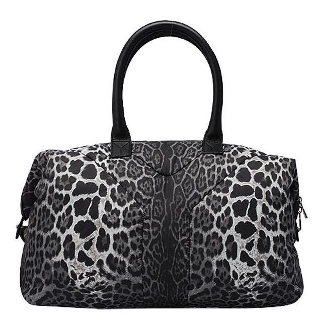【YSL】專櫃新品Y-LOGO豹紋尼龍波士頓手提包(208314-214397)