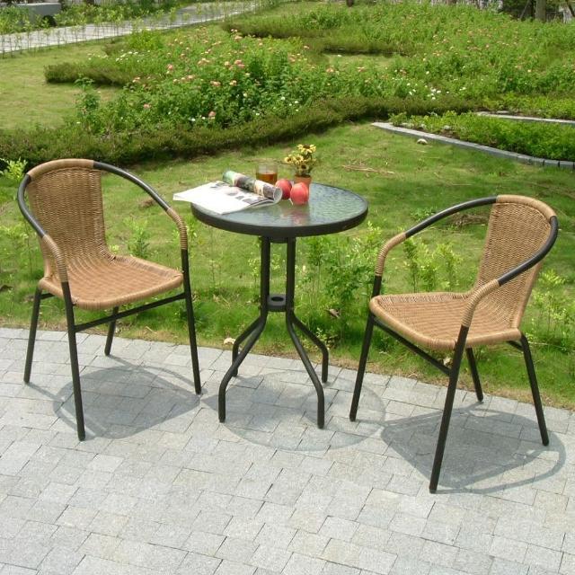 【兄弟牌】60cm庭院圓桌+PE藤椅(黑色)