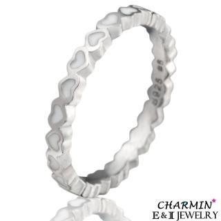 【E&I】CHARMIN -甜蜜情懷-純銀白色愛心造型戒指(白色)