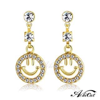 【STEVEN YANG】正白K飾「微笑天使」耳針式耳環 KG4103(金色)